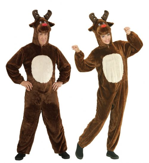 Adults Plush Reindeer Costume Christmas Fancy Dress